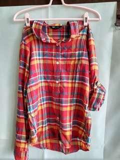 🚚 NET 純棉 格子襯衫 紅 黃 薄外套