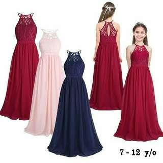 *Out of Stock*  New! 3 colors! Kids Formal Maxi Dress (FS: Loose style, fits 7 - 12 years old)