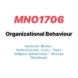 MNO1706 Organisational Behaviour