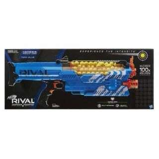 Nerf Rival Nemesis MXVII-10K Blue Color with Rival Rival Rechargeable battery pack operated fully motorized blaster with 100 high impact rounds Hasbro TRU