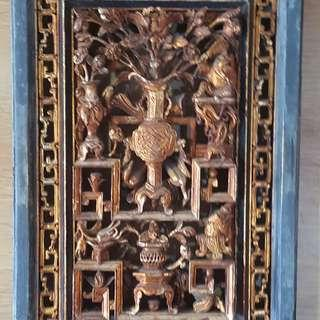 A pair of Qing Gold Wood carved with fortune, lucky floral design.
