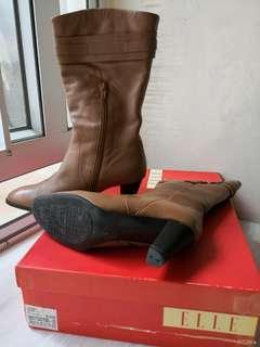淺啡色中筒靴全真皮