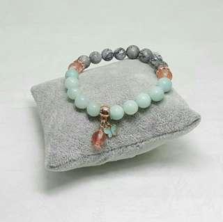Amazonite & Gray Lace Agate Stones Elastic Bracelet