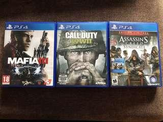 PS4 Games Call of Duty WW2, Assasin's Creed Syndicate, Mafia 3