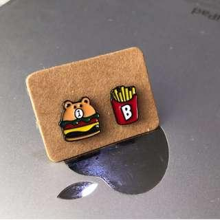 2pcs Burger & Fries Ear Studs