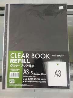 CBE A3 clear Book high quality refill