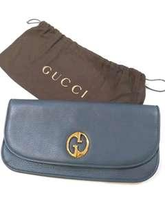 Gucci *1973 Grained* Blue Leather Clutch
