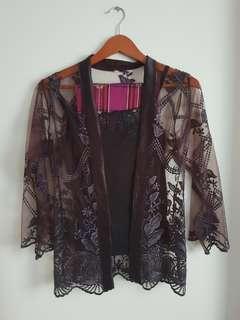 Traditional Malay Kebaya in Black and Purple