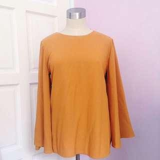 ‼️REDUCED‼️Mustard Cape Sleeved Blouse