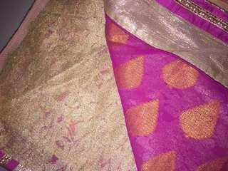 Pink with Gold lace saree