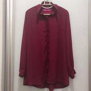♥️Preloved - Topgirl Blouse Long Sleeve Red Button Maroon