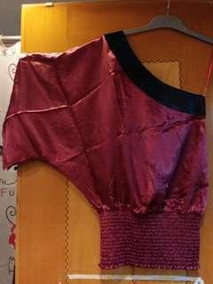 One-shoulder satin woven top, wine color
