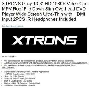 "XTRONS Grey 13.3"" HD 1080P Video Car MPV Roof Flip Down Slim Overhead DVD"