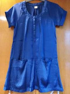Satin woven top/dress in Royal Blue color