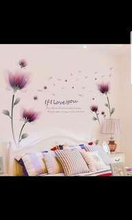 🎉New Arrival Warm Fantasy purple flower wall stickers wall flower background wall stickers room decorations bedroom bedside creative wall sticker self-adhesive