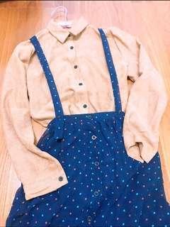 雪紡材質排扣吊帶裙