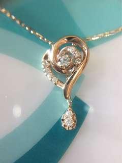 ❤️✨ 18K 玫瑰金天然鑽石頸鏈 ✨❤️