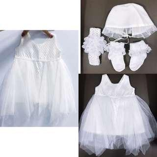 3-9MONTHS COMPLETE SET BAPTISMAL GOWN (HEAD TO TOE)