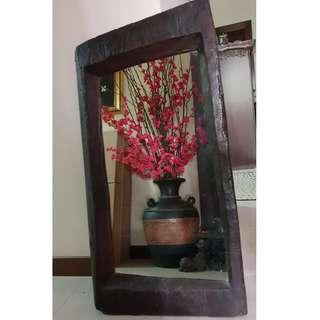 🚚 African Natural Lacquered Wooden Frame w/ Mirror