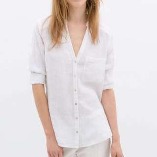 ZARA White Linen Shirt