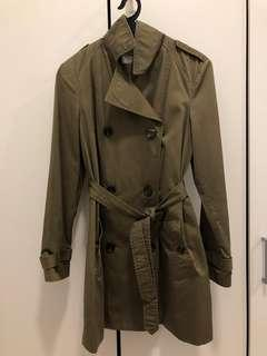 BERSHKA Double Breasted Trench Coat with belt & button side pocket