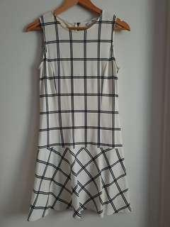 MNG White and Navy Checked Drop-waist Dress