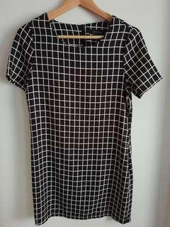 New Look Black and White Checked Dress