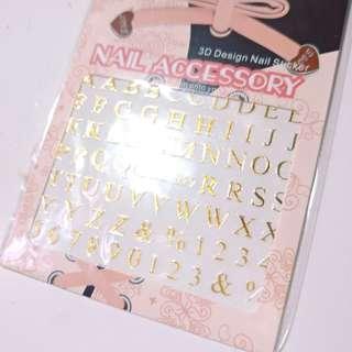 指甲貼紙 美甲 燙金字母8張
