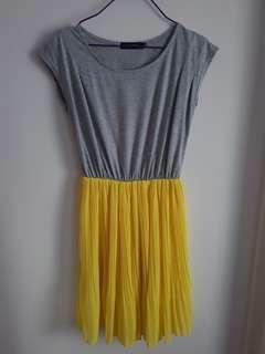 Cute Grey and Yellow Tshirt Dress