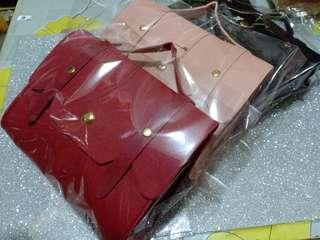 Small bag - black, red, pink.