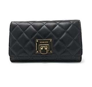 c7ec547b4a3f36 (MICHAEL Michael Kors) Michael Kors Astrid Quilt Leather Carryall Wallet  (Black/
