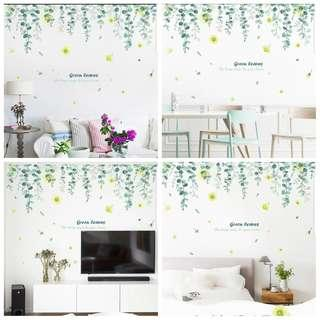 🎉New Arrival Small fresh green leaves hanging wall sticker self-adhesive living room bedroom wall warm stickers sofa background wall decoration creative wall stickers