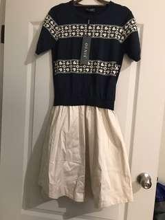 🚚 全新 薄羊毛 設計拼接連身洋裝
