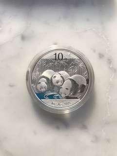 2013 China Panda 1 Ounce Silver coin