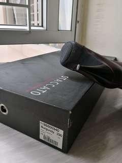 酒紅色全真皮 14.5吋高筒靴