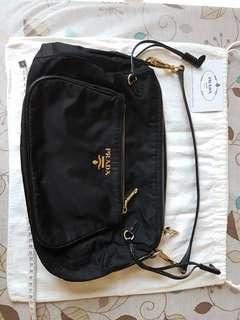 Prada Shoulder Bag Handbag Authentic black gold