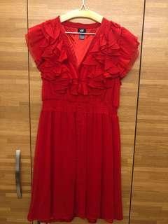 H&M 紅色雪紡連身裙