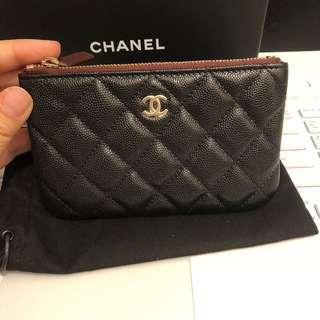 全新 斷貨皇 Chanel Coins Bag pouch 散紙包 small wallet card holder black caviar coins bag o case coin purse