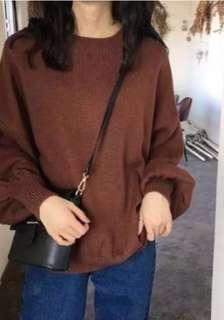 🚚 寬鬆燈籠袖針織毛衣