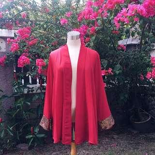 ‼️REDUCED‼️ Red Kimono Cardigan with Copper Sequined Wrist