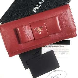 Authentic Prada Saffiano Bow Long Wallet
