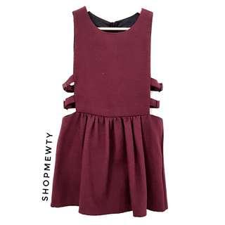Brand New Good Quality Maroon Buckle Dress