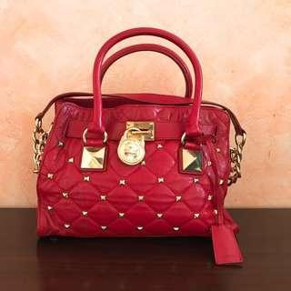 Michael Kors Studded Hamilton Red Tote
