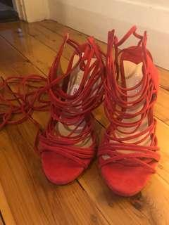 Tony Bianco strappy red heels