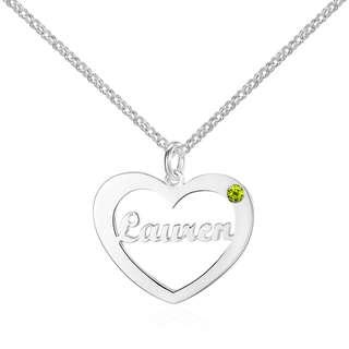 Personalized Birthstone Heart2Heart Necklace (925 Sterling Silver)