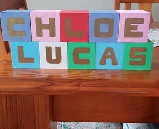 Made to order name blocks