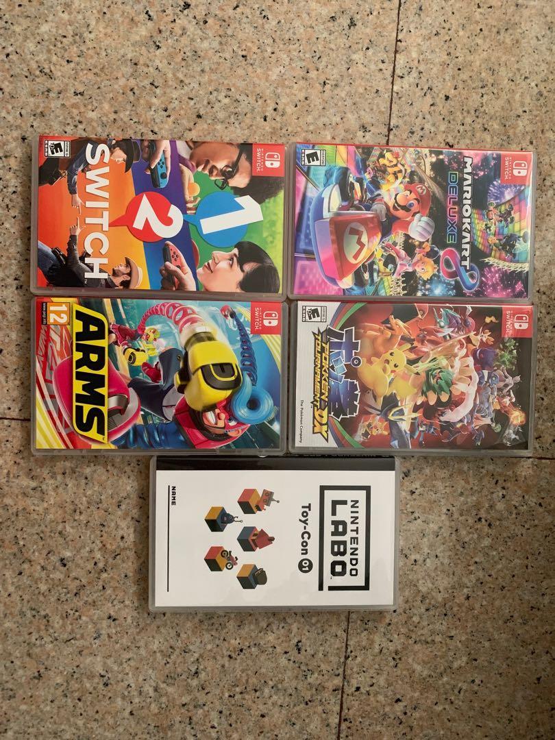 1 2 switch, Mariokart, Arms, Pokken Tournament DX, Nintendo Labo