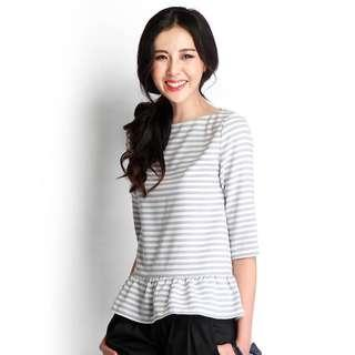 Holiday Fanfare Top In Grey Stripes