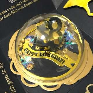 Happy 20 birthday Explosion box Card in black and gold globe