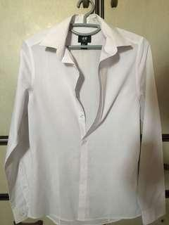 H&M slim fit Long sleeve white shirt